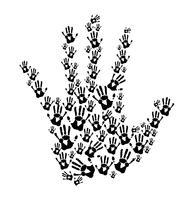 impressões de mãos negras vetor