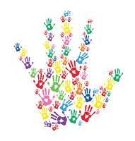 mãos coloridas imprime vetor
