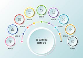 Gráfico de meio círculo, modelos de infográfico de cronograma vetor