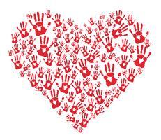 mãos vermelhas imprime no coração vetor