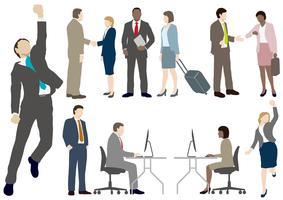 Conjunto de pessoas de negócios em estilo simples. vetor