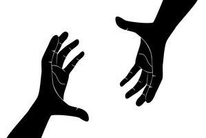 mãos segurando o vetor de arte