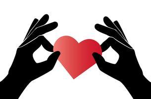 mão segurando o vetor de arte de coração