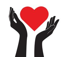 mãos segurando o vetor de arte de coração