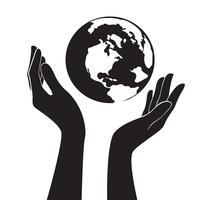 mãos segurando o vetor do mundo