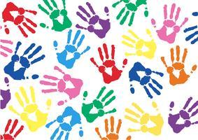 Mão colorida imprime o vetor