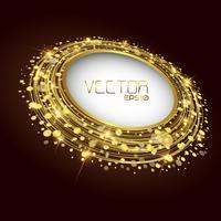 Círculo dourado fundo vector abstrato