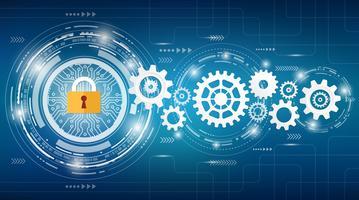 Conceito é o centro de segurança de dados. Escudo no computador Laptop proteger dados sensíveis. Segurança da Internet. Ilustração vetorial vetor