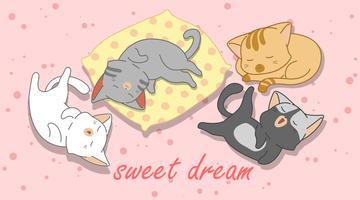 4 gatos pequenos estão dormindo.