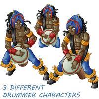3 personagens do baterista. vetor