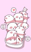 Panda e amigos na banheira. vetor