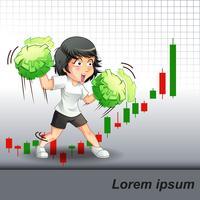 Ela encorajou o crescimento das ações no fundo do gráfico de bastões de vela. vetor