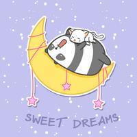 Panda e gato estão dormindo na lua. vetor