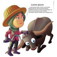 Agricultor e búfalo em estilo cartoon.