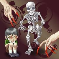 2 personagens fantasmas e mãos do diabo.