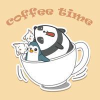 Animais na tampa do café. vetor