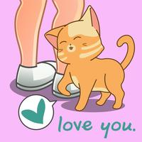 Lindo gato está amando você. vetor