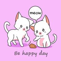 2 gatos adoráveis estão brincando com um mousy. vetor