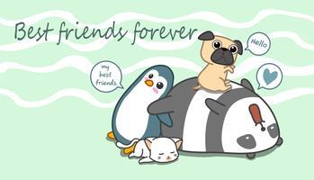 4 personagens animais em estilo cartoon.