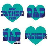 Dia dos pais mod gráficos de tipografia com corações azuis