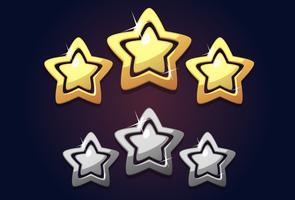 Ícone de estrela de classificação de ouro três vetor