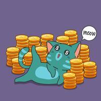 milionário gato e moedas.