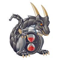 Dragão do temporizador da areia no estilo dos desenhos animados.