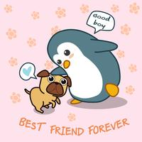 Pinguim diz amor ao cachorro. vetor