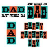 Feliz Dia dos Pais tipografia gráficos azul e laranja