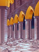 Ruína do vetor do edifício no estilo dos desenhos animados.
