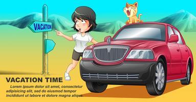 Ela está viajando com seu gato de carro cor de rosa em tempo de férias.