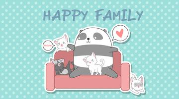 Panda e 4 gatos em estilo cartoon.