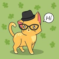 Gato bonito diz oi. vetor