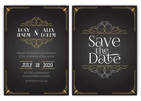 Conjunto de vetores de cartões de convite com elementos Coleção de casamento.