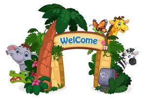 ilustração em vetor linda entrada zoológico