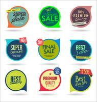 Design de modelos de banner de venda e coleção de etiquetas de oferta especial vetor