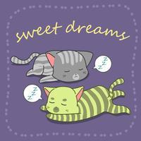2 gatos estão dormindo no estilo dos desenhos animados.
