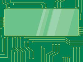 banner de desenhos animados de vetor de microchip