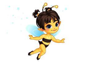 ilustração em vetor linda fada mel abelha