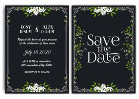 Cartão de convite de casamento Floral mão desenhada frame. vetor