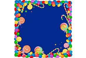 quadro em branco de doces coloridos vetor