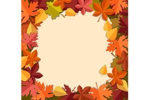 Quadro de folhas de outono em branco vetor