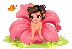 Linda menina pequena flor