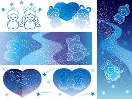 Conjunto de planos de fundo e elementos de design para o Festival de estrela japonesa.