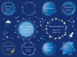 Conjunto de quadros de estrelas sortidas vector. vetor