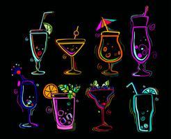 Conjunto de cocktails de néon.