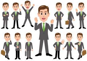 Empresário em poses diferentes isolado no fundo branco. vetor