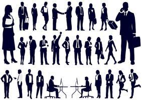 Conjunto de pessoas de negócios em silhuetas de ação. vetor