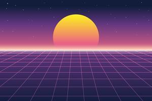 Vector a ilustração do sol e da paisagem digital no estilo retro dos anos 80 do fundo futurista