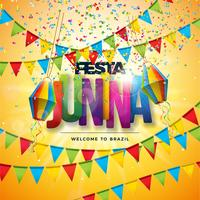 Ilustração de Festa Junina com bandeiras do partido, lanterna de papel, confetes coloridos e letra da tipografia no fundo amarelo. Vector Brazil June Festival Design